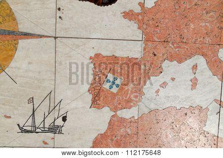Stone Map From Europe At Belem Lisboa