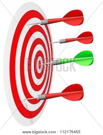Dart'??s hit the bull'??s eye isolated on white background.