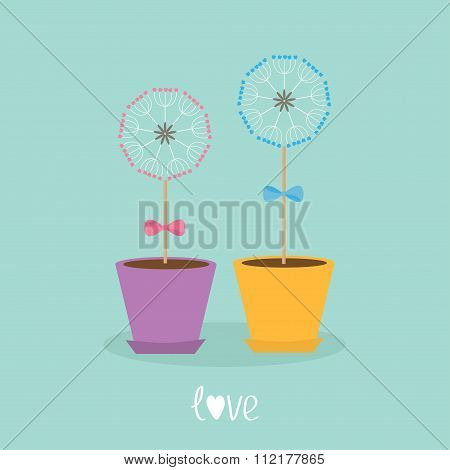 Two Dandelion Blowball Flower Set With Hearts In The Pots. Bows On Sticks. Word Love. Flat Design.