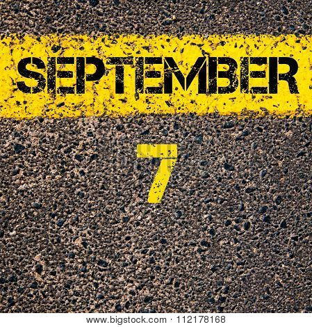 7 September Calendar Day Over Road Marking Yellow Paint Line