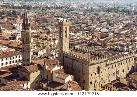 Palazzo Del Bargello And Badia Fiorentina Steeple, Florence, Italy, Travel Destination