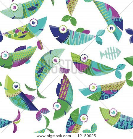Multi-colored Decorated Fishes. Seamless Background Pattern.