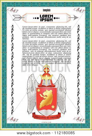 Vector template of heraldic charter