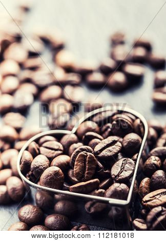 Coffee beans. Coffee beans in the form of heart. Coffee time.