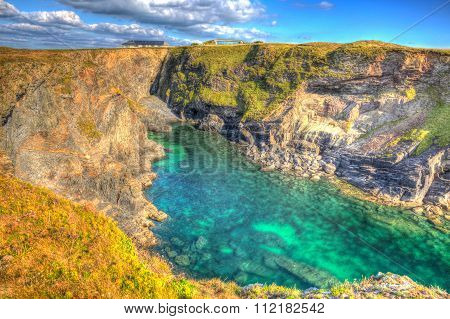 Beautiful Cornwall coast turquoise blue sea Pepper Cove between Treyarnon and Porthcothan hdr