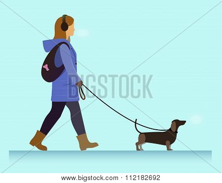 girl with dog walking