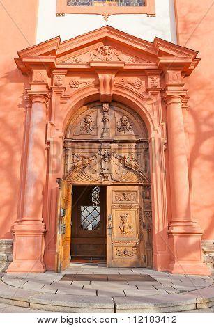 Portal Of Church The Assumption Of Mary In Stara Boleslav