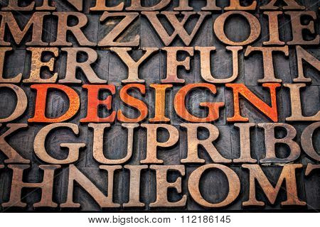 design concept - word  in vintage letterpress wood type stained by red ink among random printing blocks