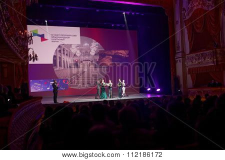 ST. PETERSBURG, RUSSIA - DECEMBER 16, 2015: Awards of Lunacharsky presentation during the closing ceremony of 4th St. Petersburg International Cultural Forum in the Mikhailovsky theater