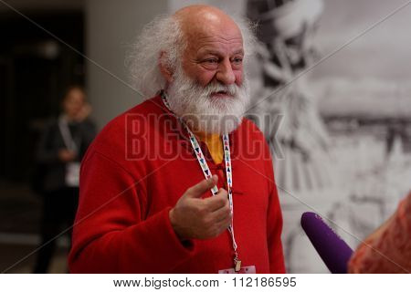 ST. PETERSBURG, RUSSIA - DECEMBER 16, 2015: Best clown in the world Slava Polunin talks with press in the final day of 4th St. Petersburg International Cultural Forum