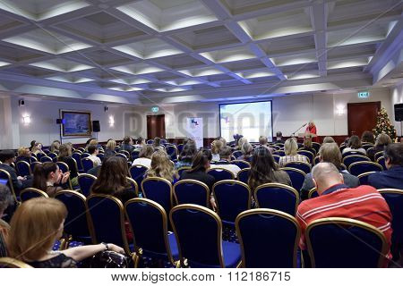 ST. PETERSBURG, RUSSIA - DECEMBER 14, 2015: Master classes in mass communications during 4th St. Petersburg International Cultural Forum. The forum includes more than 150 events