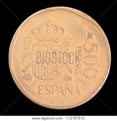 Tail Of 500 Pesetas Coin, Issued By Spain In 1989