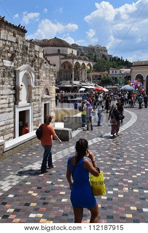 People Monastiraki Square