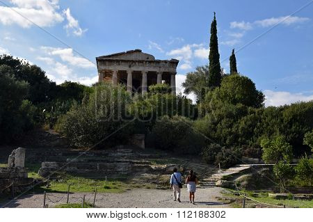 People Visiting The Temple Of Hephaestus