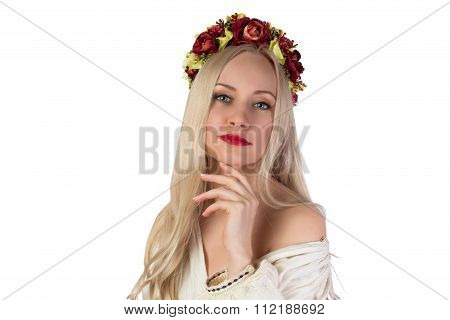 Girl In Ukrainian National Costume And Flower Chaplet