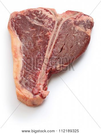 dry aged t-bone steak, raw beef isolated on white background