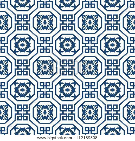 Seamless background image of Chinese octagon spiral square pattern.