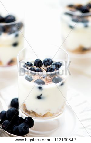 Delicious Blueberries, Greek Yogurt And Granola Parfaits
