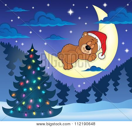 Christmas sleeping bear theme image 1 - eps10 vector illustration.