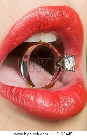 Female Lips With Ring