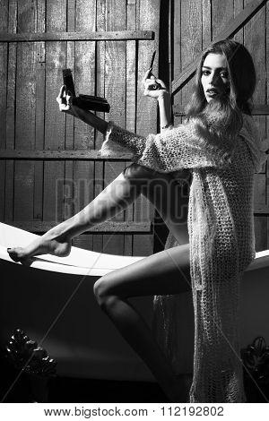 Fashionable Woman In Bath