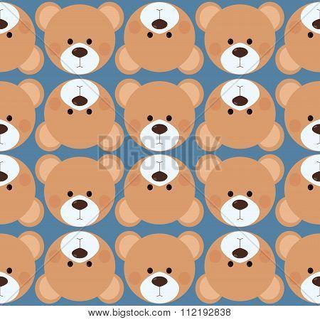 Seamless pattern background tile - cute Teddy bear head