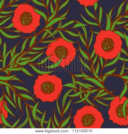 Poppy flower vector seamless pattern.