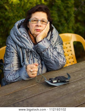Elderly Woman Deep In Thought