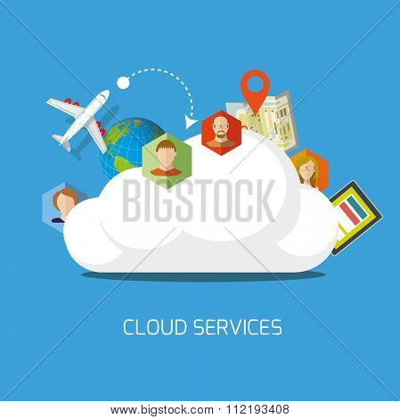 Cloud services flat concept. Vector illustration.