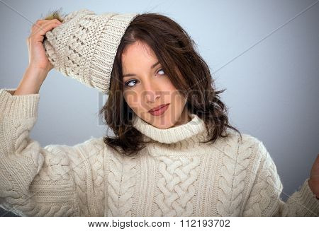 Stylish Young Woman In Winter Knitwear