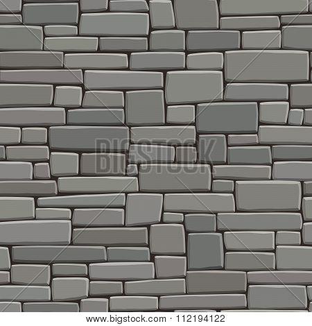 Seamless Grey Background Wall Of Rectangular Bricks.