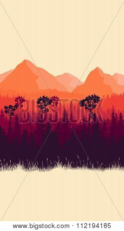 Vertical Illustration Of Mountains And Forest With Grass.