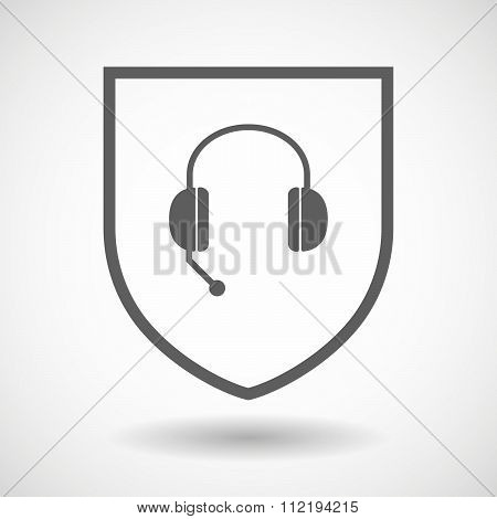 Line Art Shield Icon With  A Hands Free Phone Device