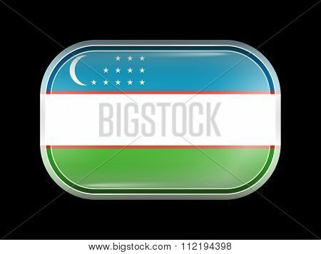 Flag Of Uzbekistan. Rectangular Shape With Rounded Corners