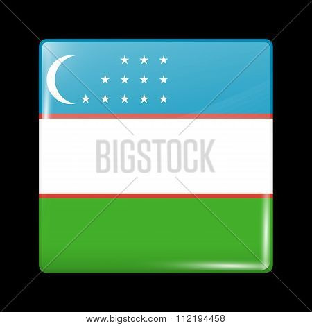Flag Of Uzbekistan. Glassy Icon Square Shape