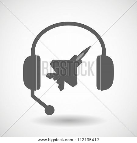 Assistance Headset Icon With A Combat Plane