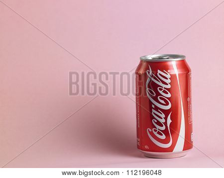 kuala lumpur,malaysia, december 13rd 2015, coca cola on the pink background