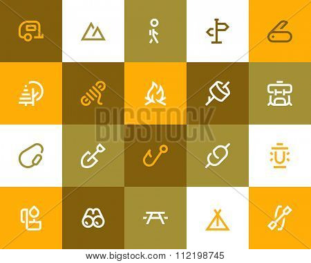 Camping icons. Flat style