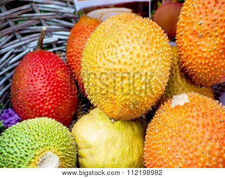 Gac Fruit Or Baby Jackfruit, Cochinchin Gourd, Spiny Bitter Gourd, Sweet Gourd (momordica Cochinchin
