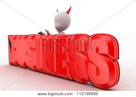 3D Devilish Man Presenting Business Text Concept