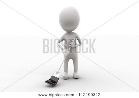 3D Man Holding A Swiping Brush Concept