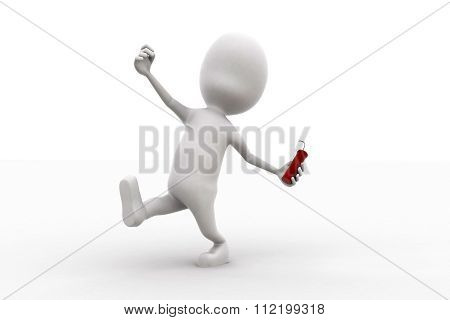3D Man Throwing A Dynamite Concept