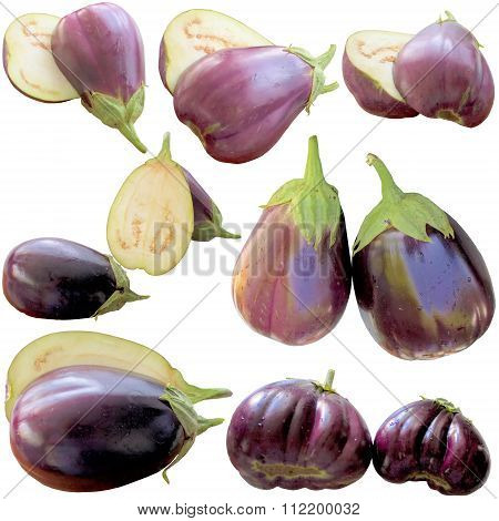 Eggplants On A White Background.