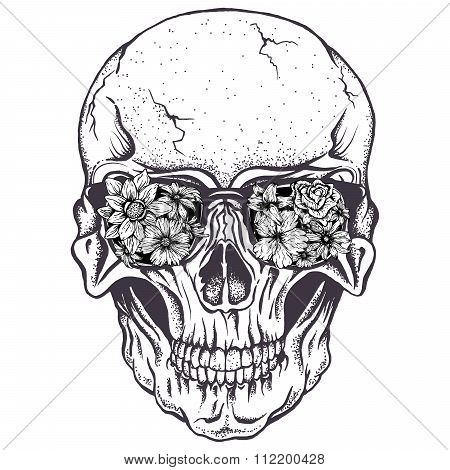 Skull of human with  flowers on eyeglasses