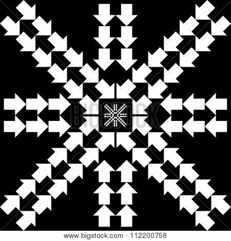 Pattern With Arrows In Snowflake Form