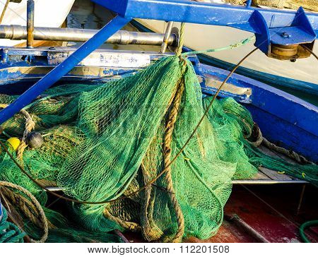 Fishing nets on the quay of the port