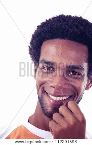 Portrait of young african hispanic man with joyful expression isolated on white