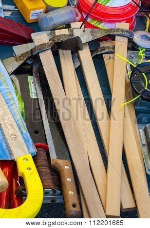 Hammers saws axes and other work tools for sale