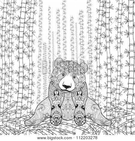 Bamboo panda coloring page