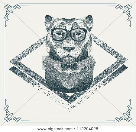 Halftone hipster tiger with black Dots. Vector Illustration.